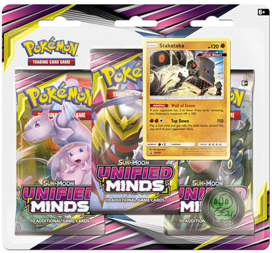 Buy Pokemon - Unified Minds 3 Pack Blister - Stakataka (Pre-Order July 29th, 2019) and more Great Pokemon Products at 401 Games