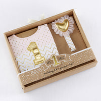 My First Birthday Pink and Gold Pacifier Clip and Bib Set