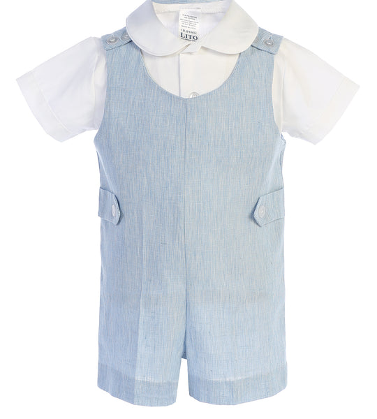 Light Blue Linen Romper Set