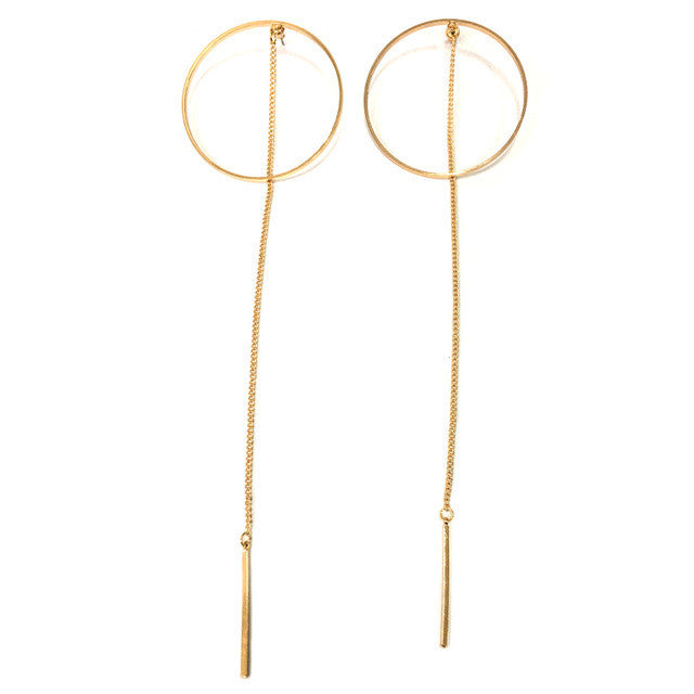 Circle Drop Earrings (Gold or Silver)