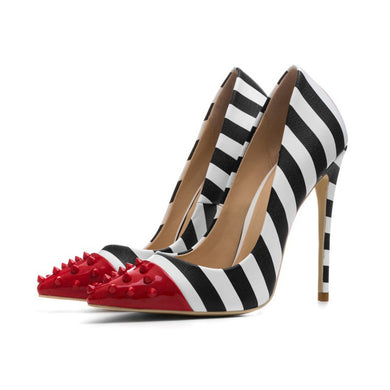 Spiked Red Tipped Striped Pumps
