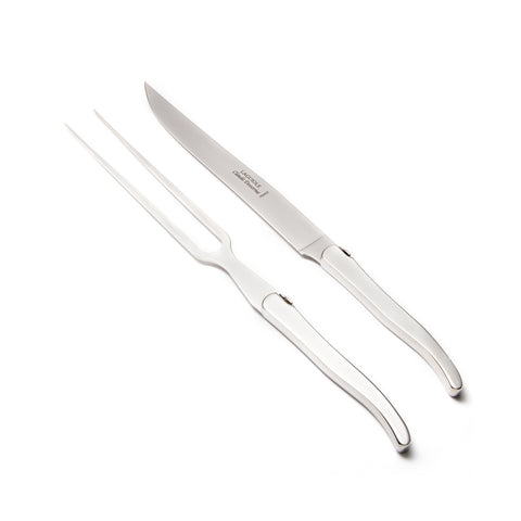 Claude Dozorme Laguiole Carving Set - Polished Stainless