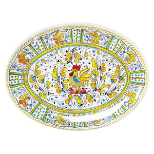 "Le Cadeaux 16"" Oval Platter - Rooster Yellow"