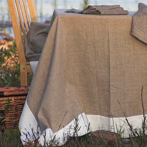 Linen Way Serenite Tablecloths - Natural and White