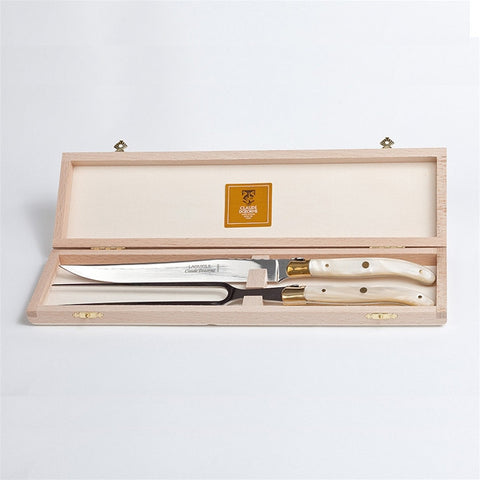 Claude Dozorme Laguiole Carving Set - Natural