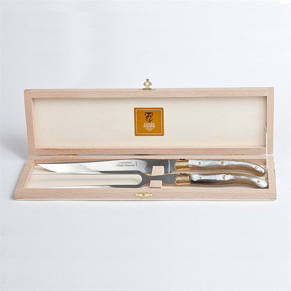 Claude Dozorme Laguiole Carving Set - Light Horn