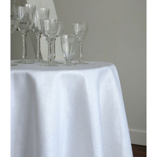 Linen Way Stockholm Round Tablecloths - White