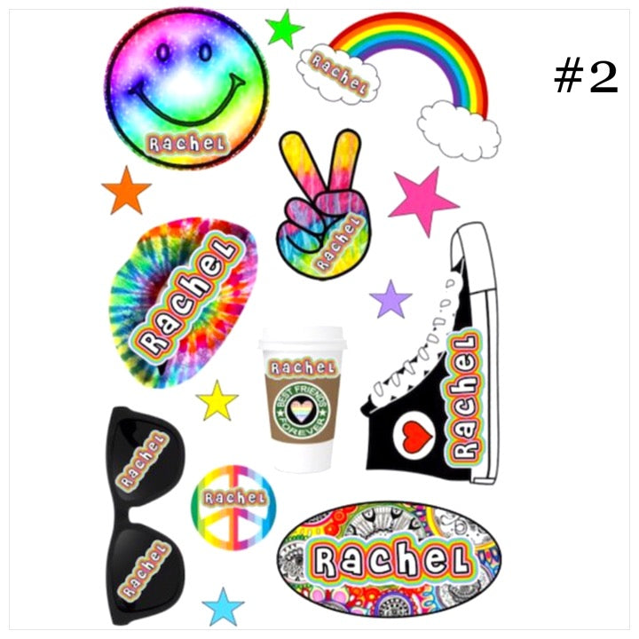 Personalized Cling Its- The Canteen - hi tops rainbow smile peace