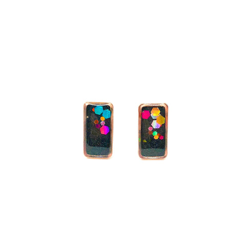 Charcoal Rainbow Glitter Dipped Studs - Rose Gold Rectangles