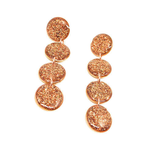 Ultra Luxe Glitter Quadruple Drop Earrings -  Rose Gold  and Copper Glitter