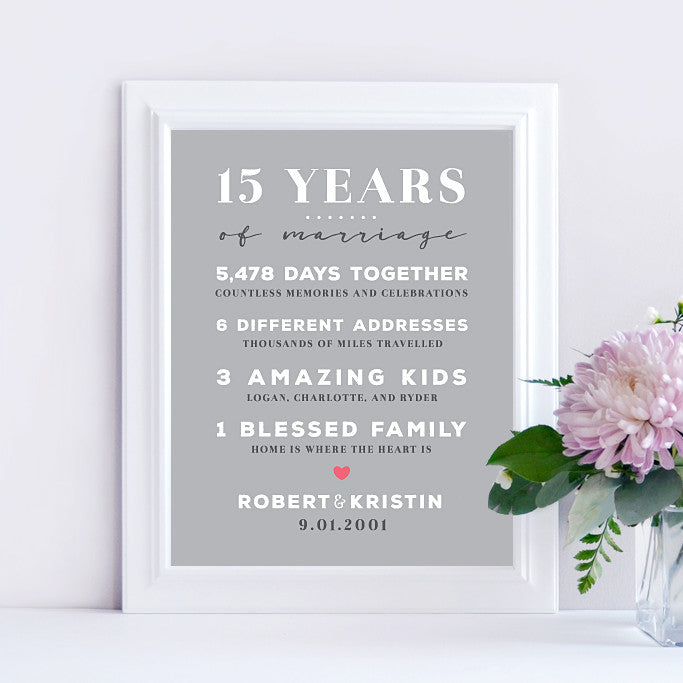 15 Year Wedding Anniversary Keepsake