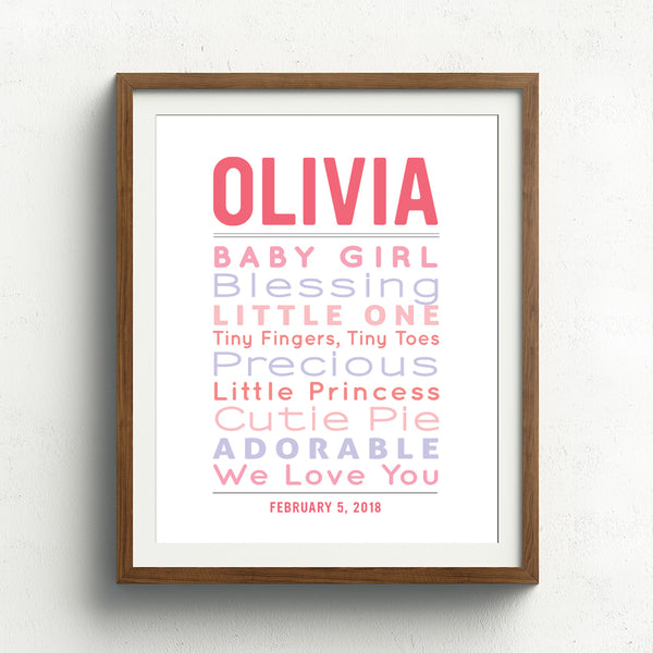 Typographic Baby Word Art Print // Girl Nursery Decor