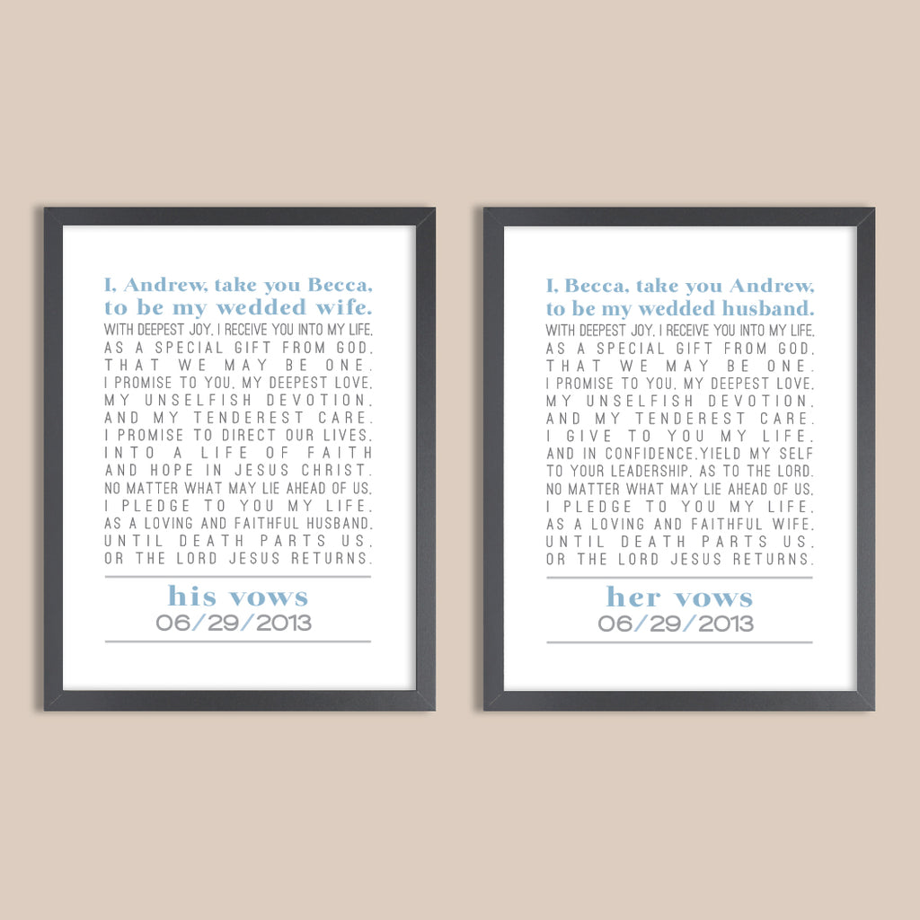 His Vows, Her Vows Print Set // Wedding Gift, 1st Anniversary