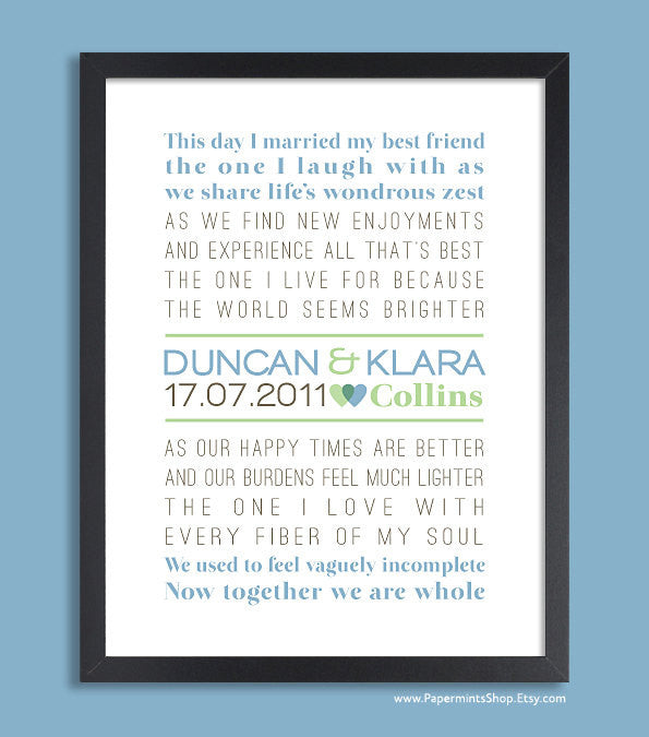 Custom Wedding Gift, Personalized Wedding Gift, Wall Print (vows, custom song, poem) blue & green, custom colors