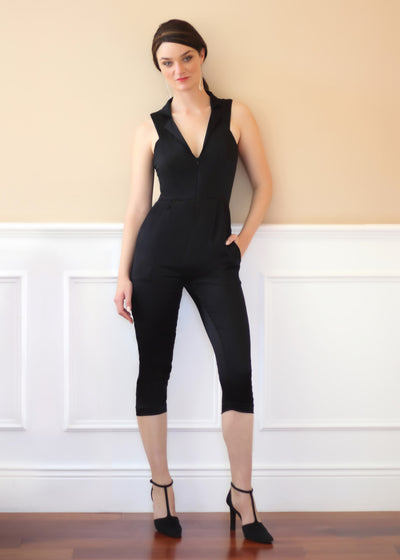 Agaati black silk jumpsuit - Front