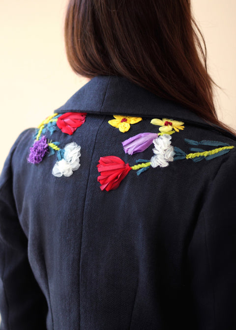 Agaati Black Winter Bloom Coat with Embroidery - Back