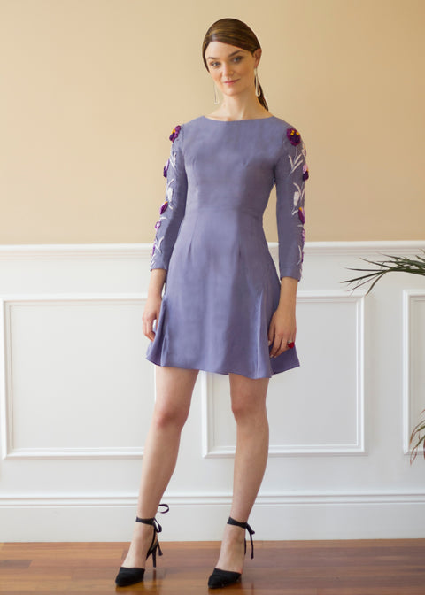Agaati Midi Embroidered  decorated Surface Dress - Blue Grey - Front