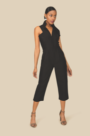 Agaati All Day black cotton Jumpsuit with front zipper - Front