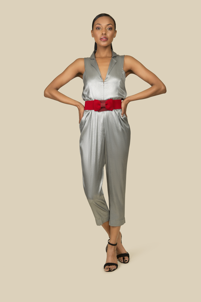 Agaati Silver Silk Jumpsuit with front zipper - Front 1