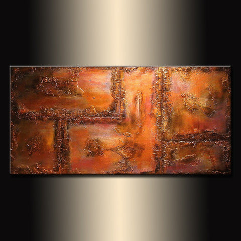 Abstract Painting,  Original Metallic Contemporary Art,  Modern Abstract Rich Textured fine art,  by Henry Parsinia Large 48x24 - New Wave Art Gallery