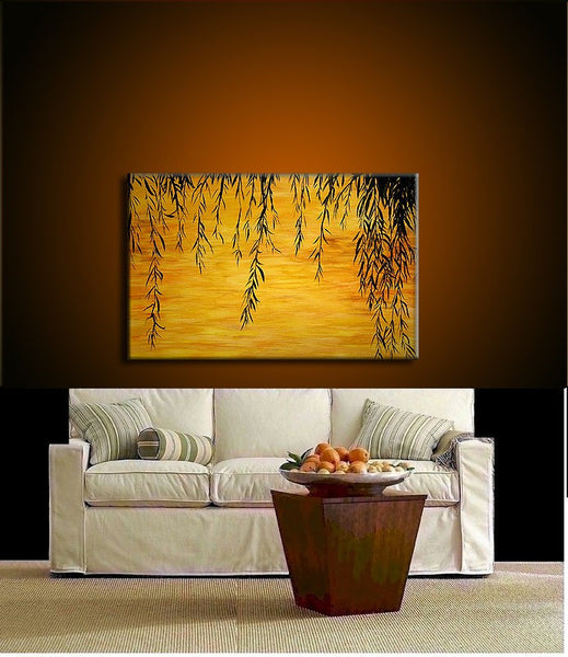 Original landscape Painting, Contemporary Sunset Lake Fine Art, Willow Tree Abstract by Henry Parsinia Large 36x24 - New Wave Art Gallery