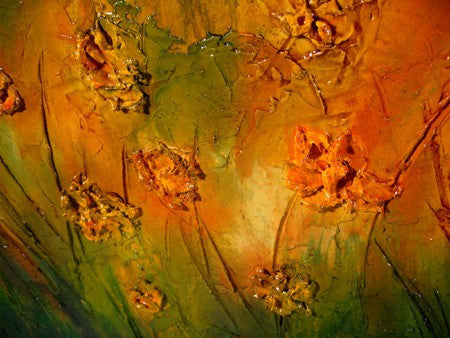 Original  Abstract painting Contemporary landscape rich textured green yellow orange by Henry Parsinia Large 48x24 - New Wave Art Gallery