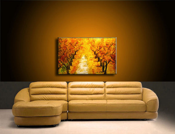 Landscape Painting Autumn Colors Tree Pathway Abstract Painting Modern Contemporary Fine Art by Henry Parsinia Large 36x24 - New Wave Art Gallery