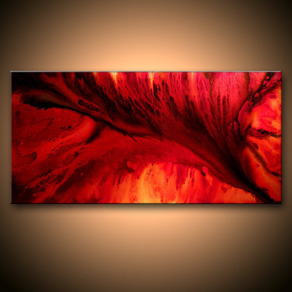Large Original Abstract painting Red Black Contemporary moder Fine Art by Henry Parsinia 48x24 - New Wave Art Gallery