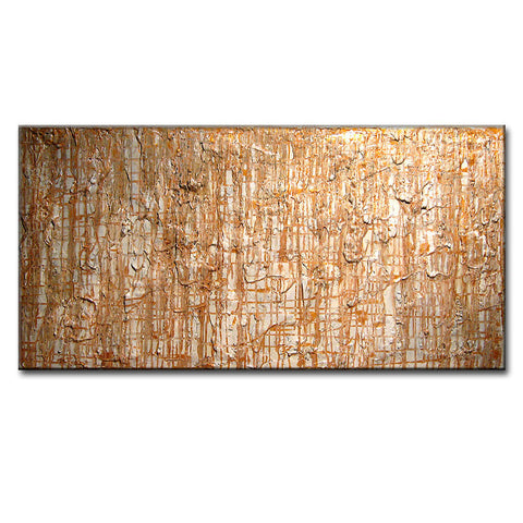 Abstract Painting - Original Modern Abstract, Thick Texture Abstract, Contemporary White Gold Fine Art By Henry Parsinia Large 48x24 - New Wave Art Gallery