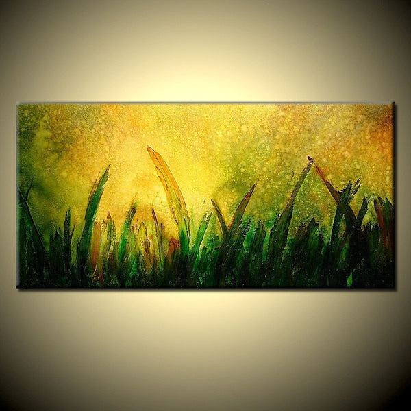 ORIGINAL Textured Landscape Abstract Painting Modern Abstract art Contemporary Landscape painting by Henry Parsinia 48x24 - New Wave Art Gallery