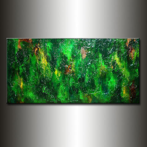 Abstract Painting Original Green Contemporary Wall Art Modern Abstract Rich Texture Painting by Henry Parsinia Large 48x24 - New Wave Art Gallery