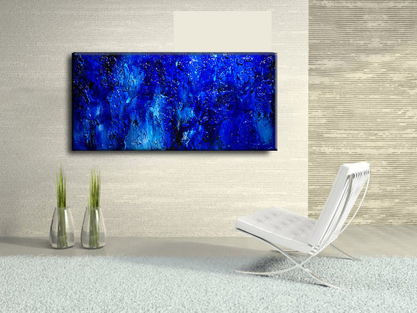 Original Textured BLUE Abstract Painting, Contemporary Modern fine art by Henry Parsinia Large - New Wave Art Gallery