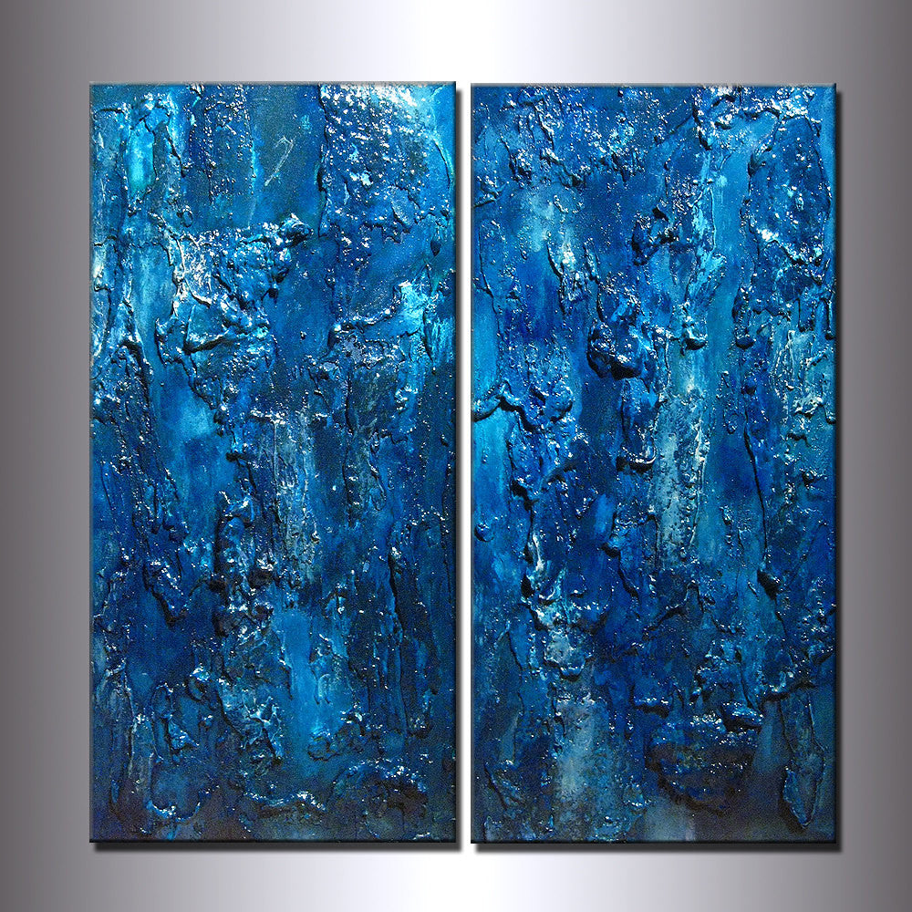 Abstract Art Textured Abstract painting, ORIGINAL Contemporary Modern Blue Fine Art by Henry Parsinia Large 24x24 - New Wave Art Gallery
