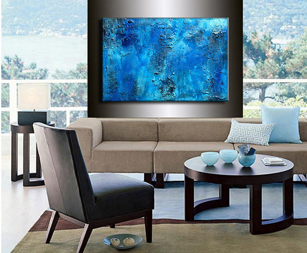 Original Thick BLUE Textured Abstract Painting, Contemporary Modern fine art by Henry Parsinia Large 36x24 - New Wave Art Gallery