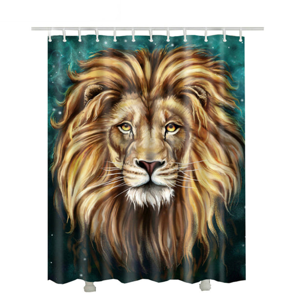 Teal Big Face Lion Shower Curtain