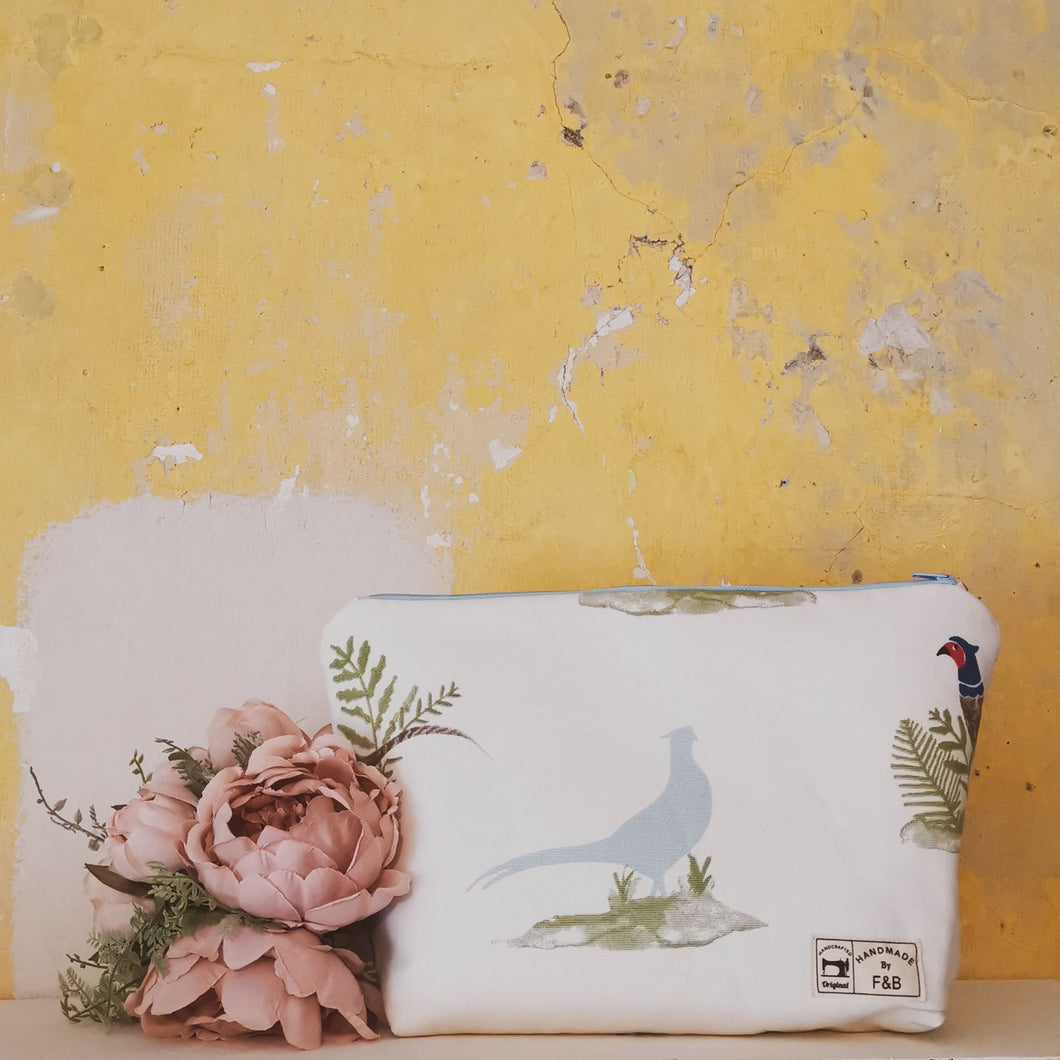 Pheasant Wash Bag  or Make UP Bag handmade in yorkshire - by F&B - light blue and full colour pheasants on white background