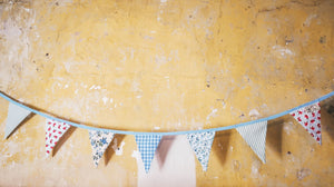 Decorate your home or nursery with this gorgeous vintage themed blue bunting - handmade in yorkshire by F&B
