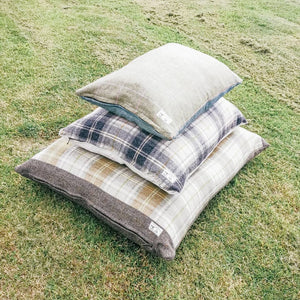 Tweed Dog Beds Handmade in Yorkshire for Country Homes  - Duck Feather filled dog bed for maximum comfort and ease of washing