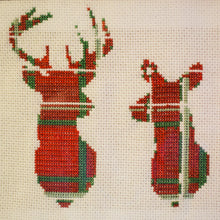 Stag and Doe Tartan Cross Stitch Designed and Sewn by F&B