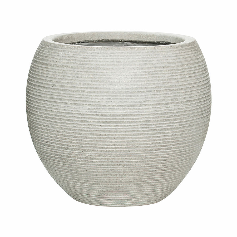 Abby Ball Plant Pot - Ridged Cement