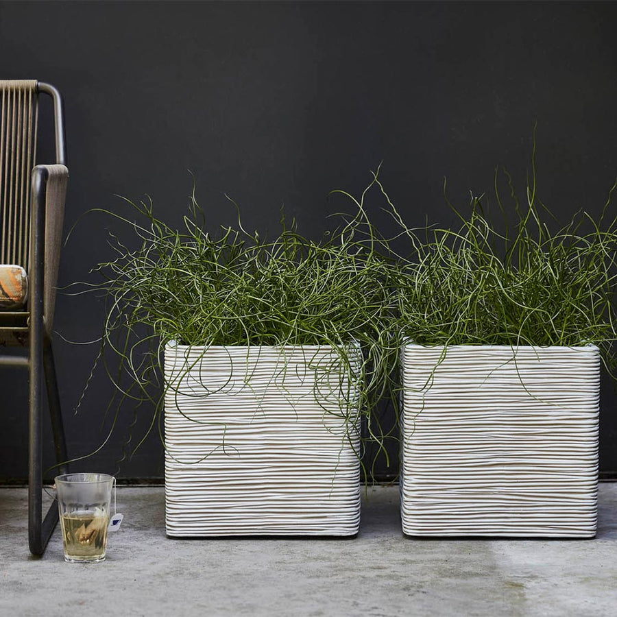 Capi Tutch Rib Square Planter - Ivory