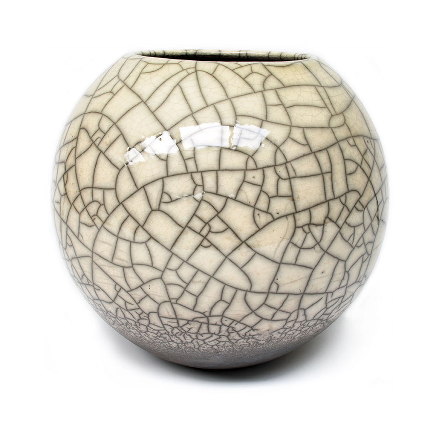 Lund Raku Ball Planter - Off White