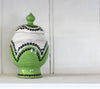 Lidded Jar Green Dots