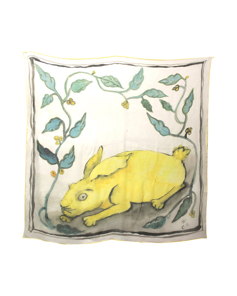 Claudia Rankin Silk Scarf: Yellow Hare