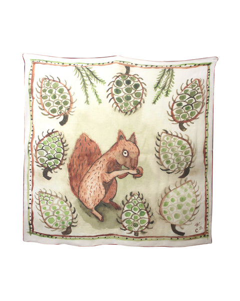 Claudia Rankin Silk Scarf: Squirrel