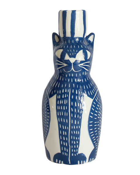 Blue Cat Candle Holder