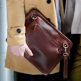Leather iPad Bag for men with wrist strap