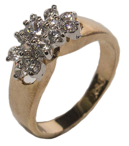 Women's 18 Kt Gold Plated Dress Ring Cubic Zirconia Cluster 017