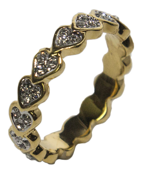 Women's 18 Kt Gold Plated Austrian Crystal Heart Band Dress Ring 016