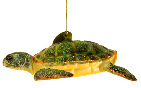 5 Inch Blown Glass Sea Turtle Christmas Ornament with Glitter Accents